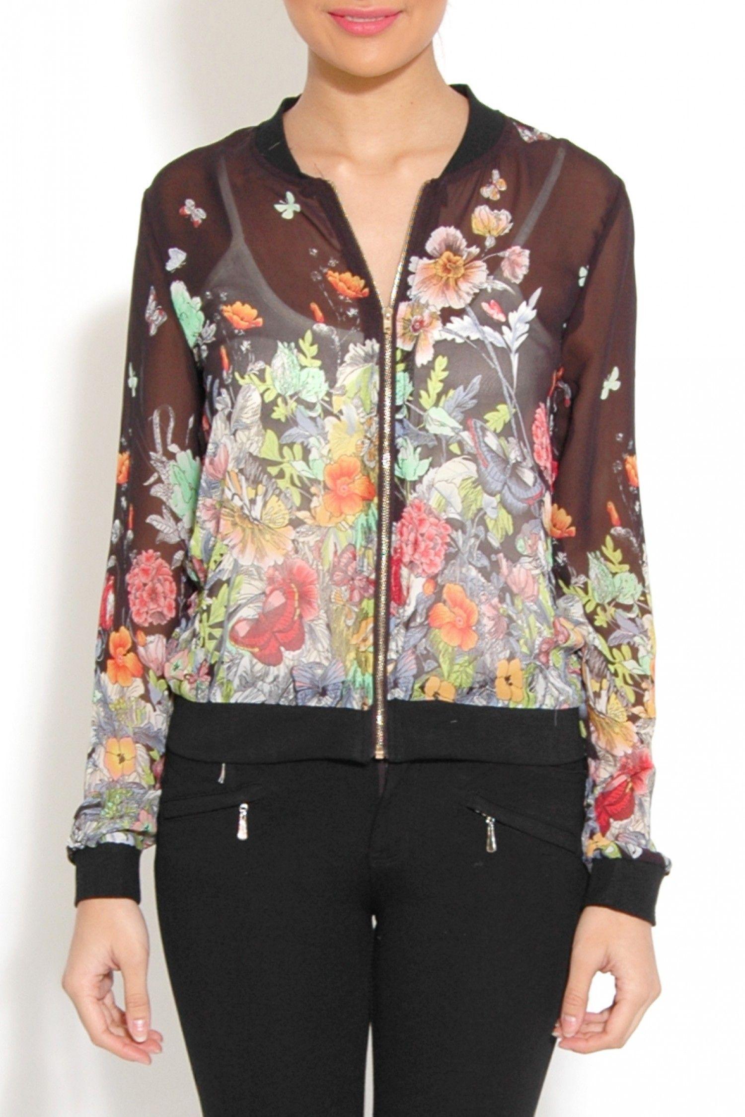 Black Floral Sheer Bomber Jacket Bomber Jacket Clothes Jackets [ 2247 x 1500 Pixel ]