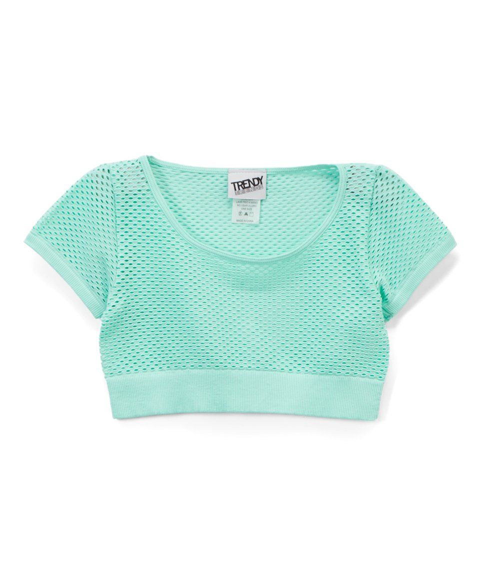 e2a280edcf5 Take a look at this Mint Semisheer Mesh Crop Top - Girls today! | a ...