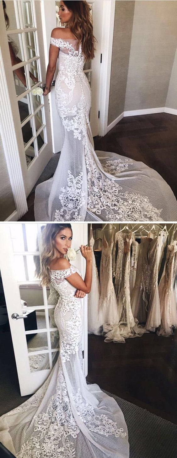 Elegant mermaid lace wedding dress off shoulder short sleeves