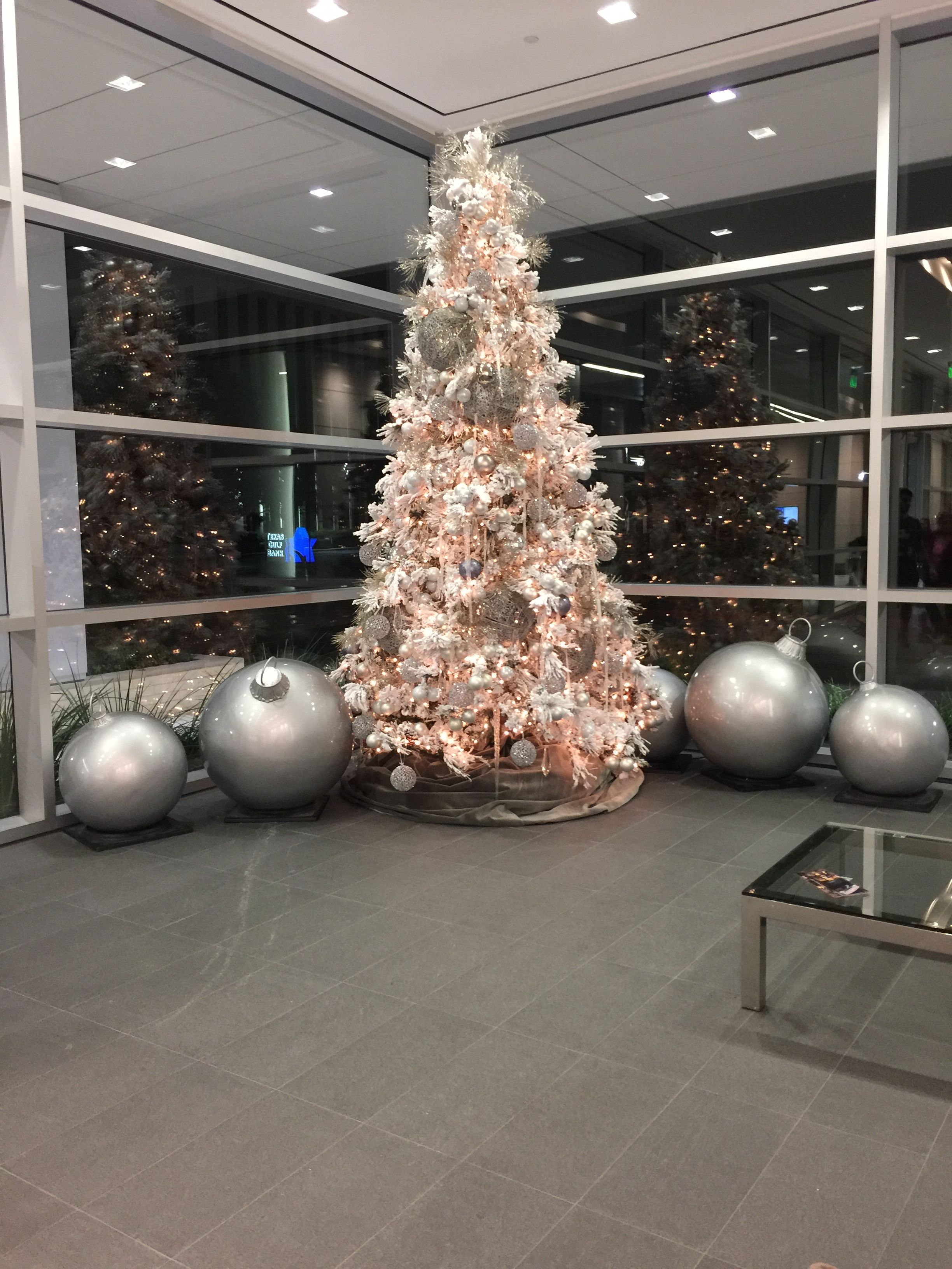 white flocked christmas tree for lobby area white flocked christmas tree office lobby holiday
