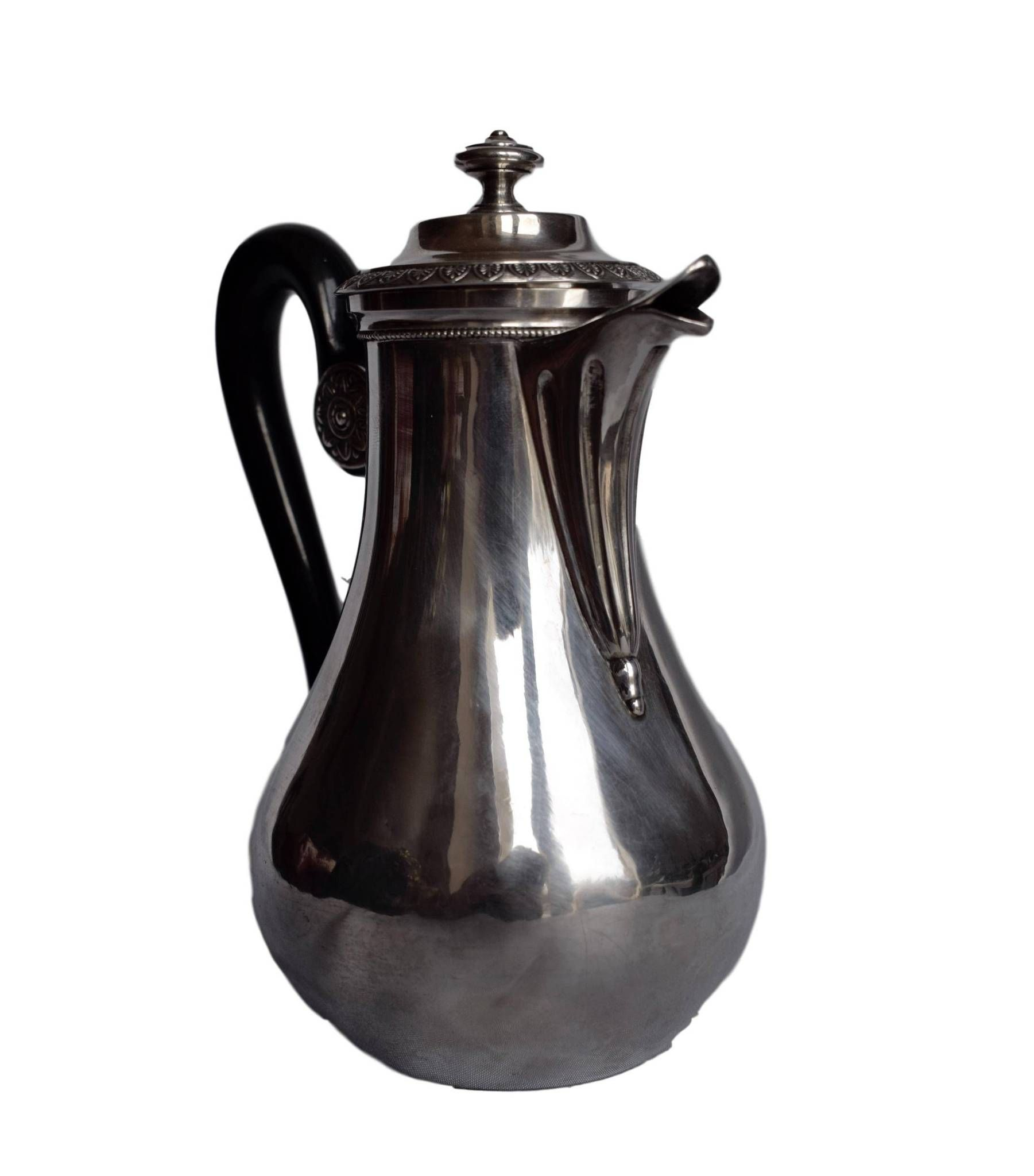 French Antique Sterling Silver Coffee Tea Pot With Ebony Handle Old Man Hallmark 1819 1838 Empire Silverware Solid