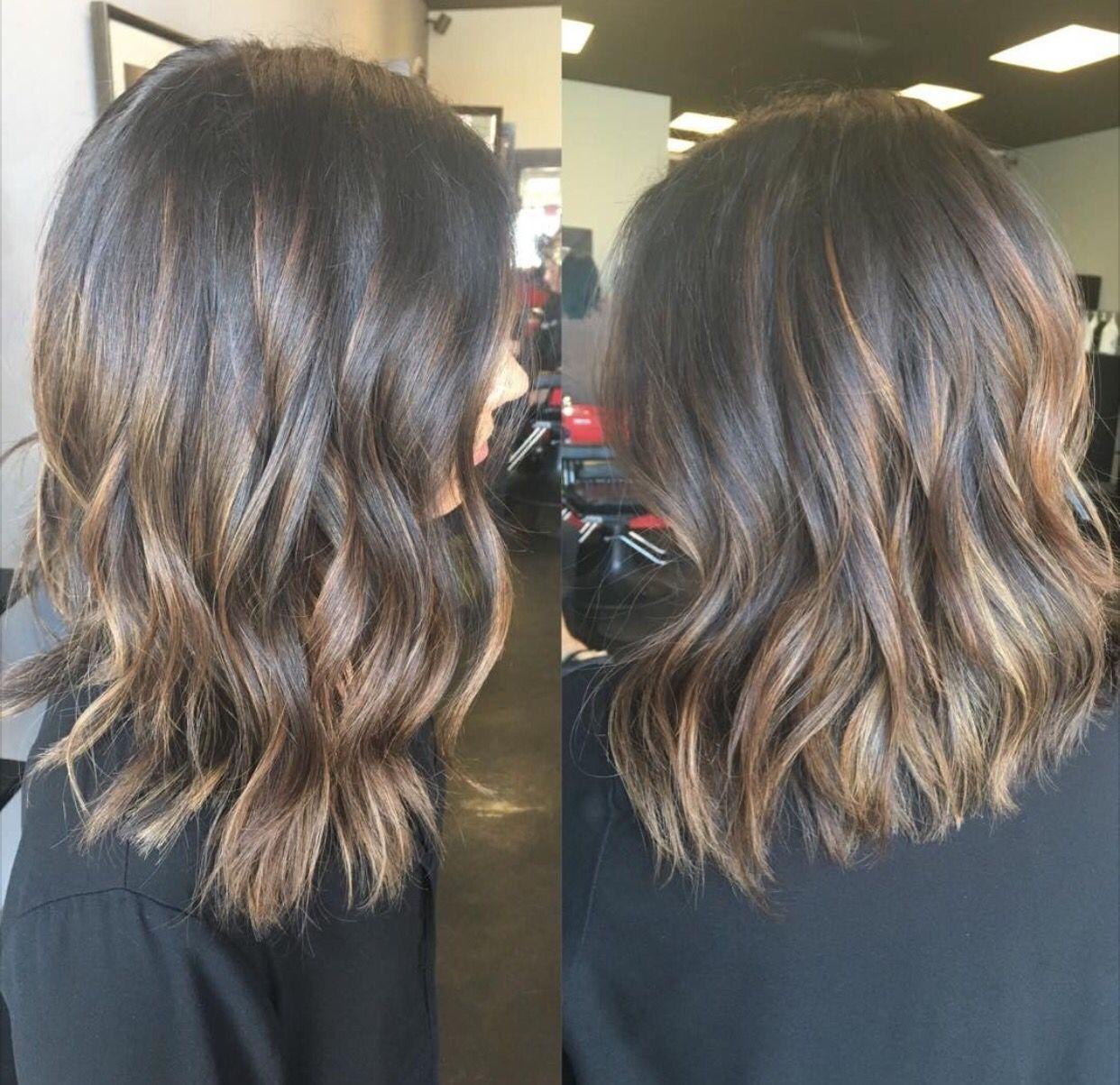 Subtle brunette balayage lob | Vanity | Pinterest ...