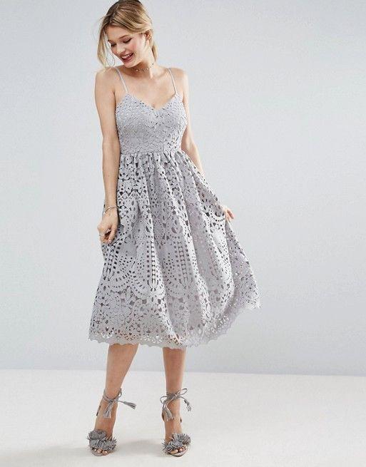 Asos Heavy Lace Cami Midi Prom Dress