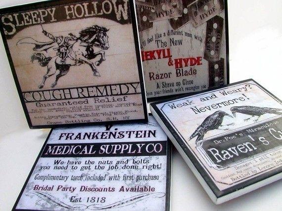Coaster Set Halloween Decor Gothic Poe Dr Jekyll by CheltenhamRoad, $16.00 - so fun