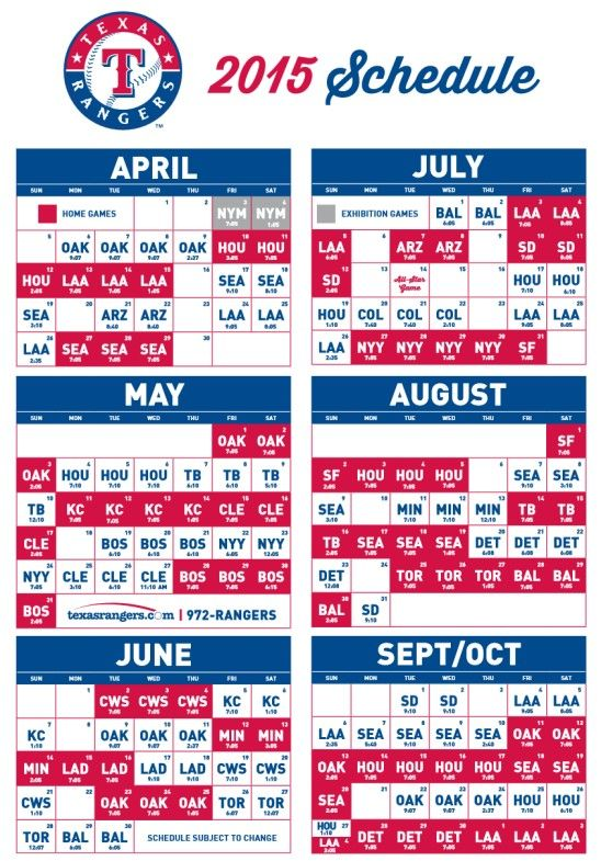 Here S The Texas Rangers 2015 Schedule Red Home Games At Globe Life Park Texas Rangers Game Texas Rangers Tx Rangers