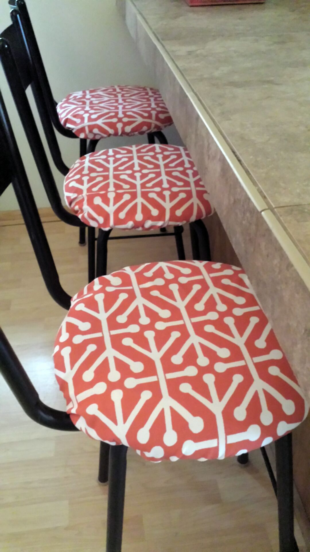 A Client Ordered Three Round Barstool Covers In Aruba Indoor Outdoor Round Barstool Covers For Her Home They Look Gr Bar Stool Covers Stool Covers Bar Stools