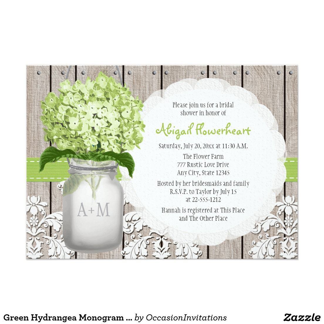 Green Hydrangea Monogram Mason Jar Bridal Shower
