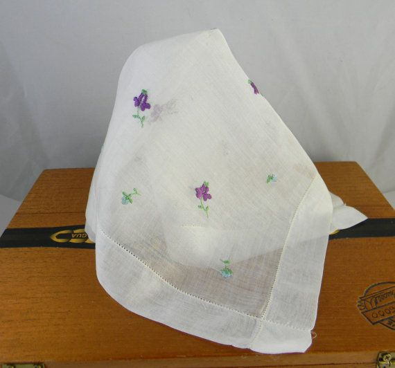 Vintage Wedding hankie handkerchief in white by FeliceSereno, $5.00