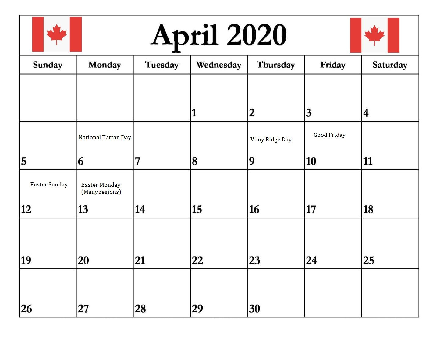 April 2020 Calendar With Holidays Canada in 2020 Holiday