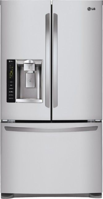 LG - 24.7 Cu. Ft. French Door Refrigerator with Thru-the-Door Ice and Water - Stainless Steel - Front_Zoom