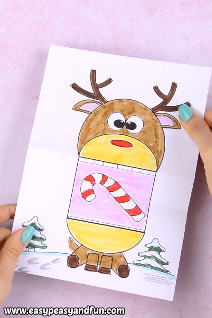 graphic relating to Printable Crafts for Kids referred to as Wonder Huge Mouth Reindeer Printable Xmas Craft