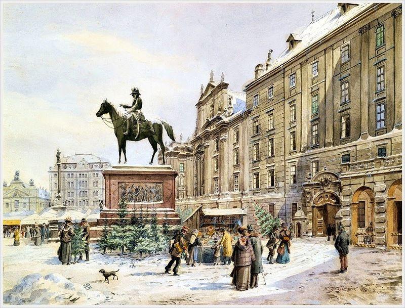 Karl Wenzel Zajicek. A Christmas market in Am Hof Vienn. 1908