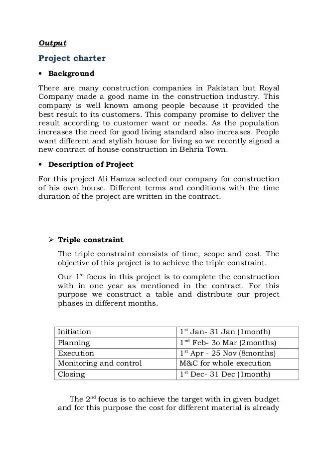 Project Charter Template For Building A House  Project Charter