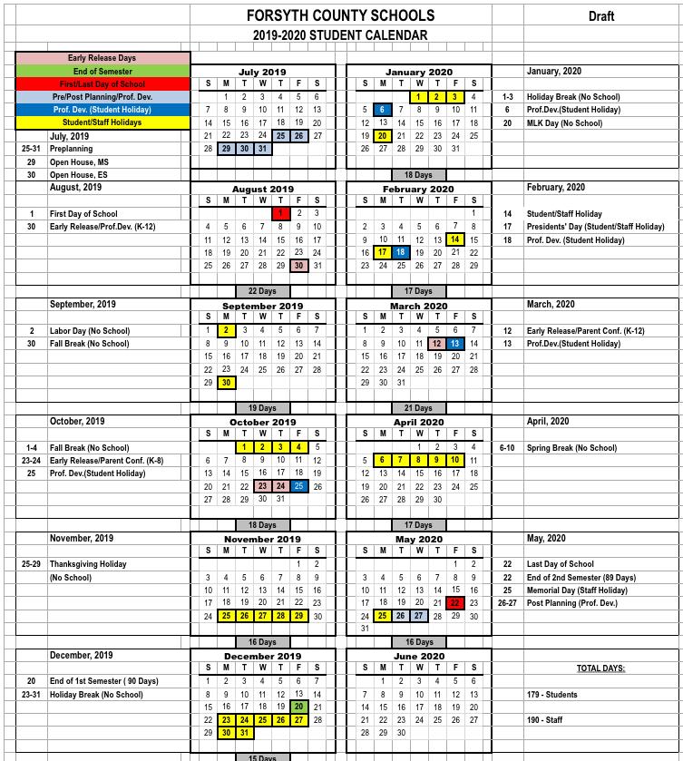 Forsyth County School Calendar Printable HD Images | School