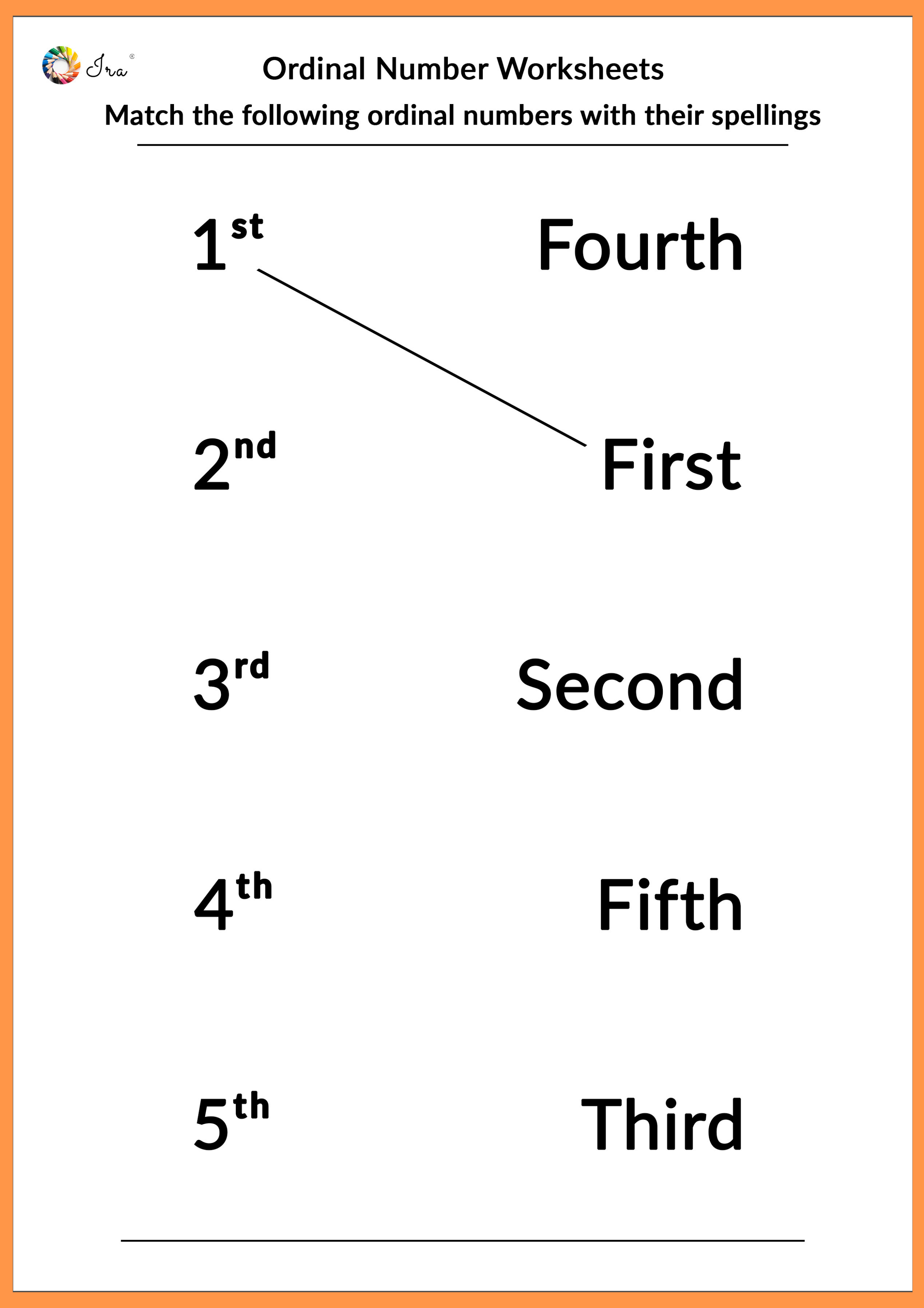 Free Printable English Ordinal Numbers Worksheets For Your