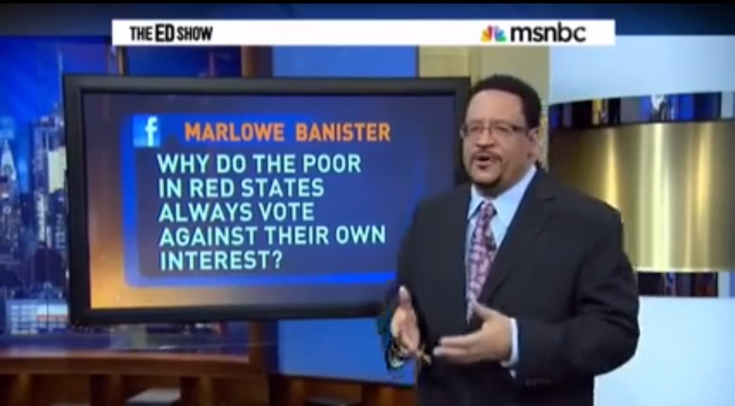 On Why Poor Whites in Red-States Vote Against Their Interest. In a concise 90 second video, Michael Eric Dyson hits the nail right on the head and offers a concise answer to the age-old question of why poor whites residing in red-states always vote against their own best interest. VIDEO in link https://youtu.be/LNSCyFpxxLU