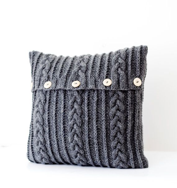 Hand knitted dark gray pillow cover - aran design cable ...