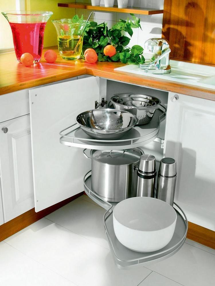 Meuble d\u0027angle cuisine moderne et rangements rotatifs en 35 photos