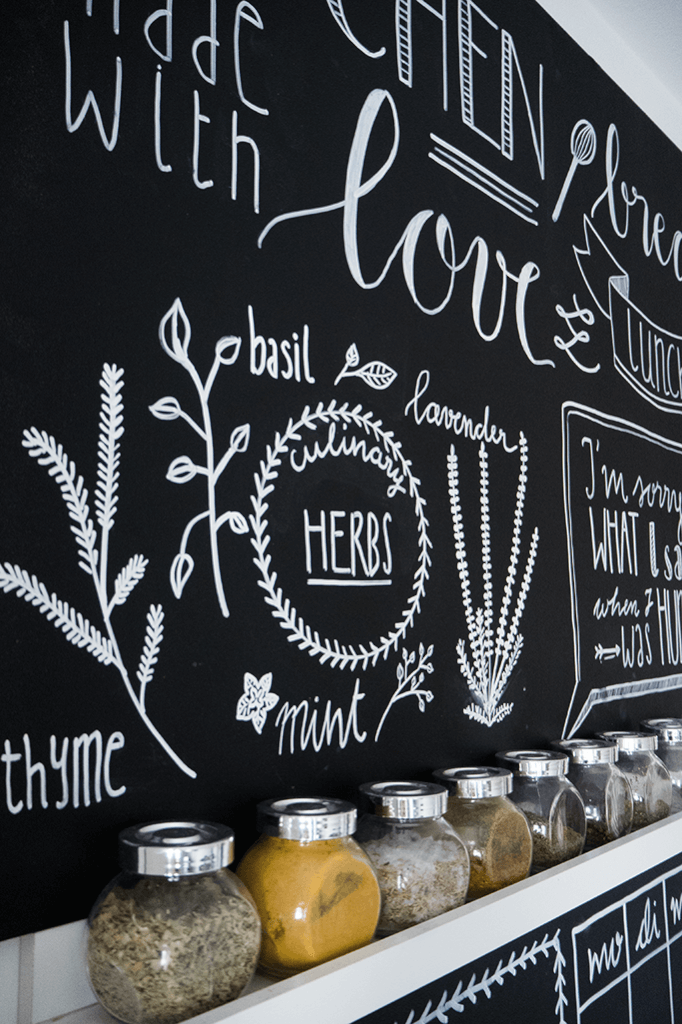 Chalk Lettering: Tafelwand bemalen mit Handlettering - Rosy & Grey #gesso