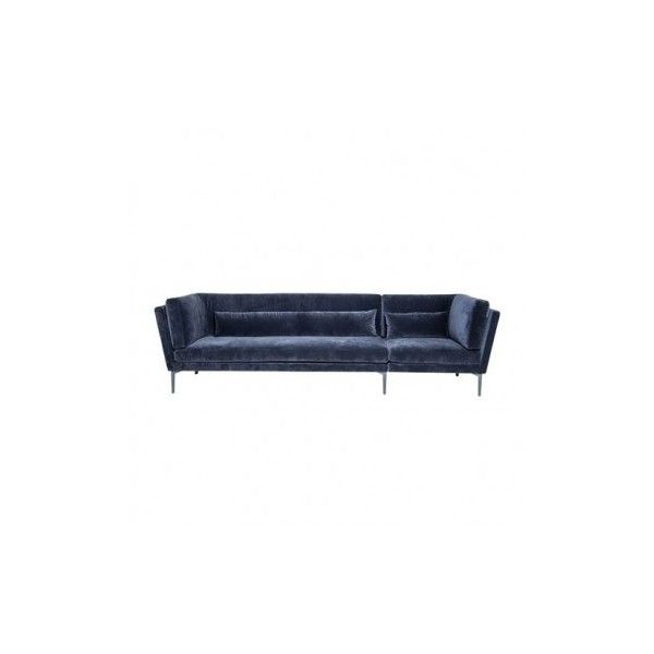 Rox 3 Seater Sofa ($3,225) ❤ liked on Polyvore featuring home, furniture, sofas, blue sofa, velvet furniture, 3 seater couch, blue velvet couch and velvet couch