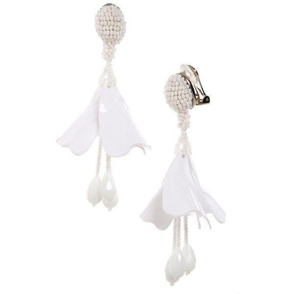 0a3ee2b72c5 Women's Oscar De La Renta Small Impatiens Flower Drop Clip Earrings (6,875  MXN) ❤ liked on Polyvore featuring jewelry, earrings, white, flower jewelry,  ...