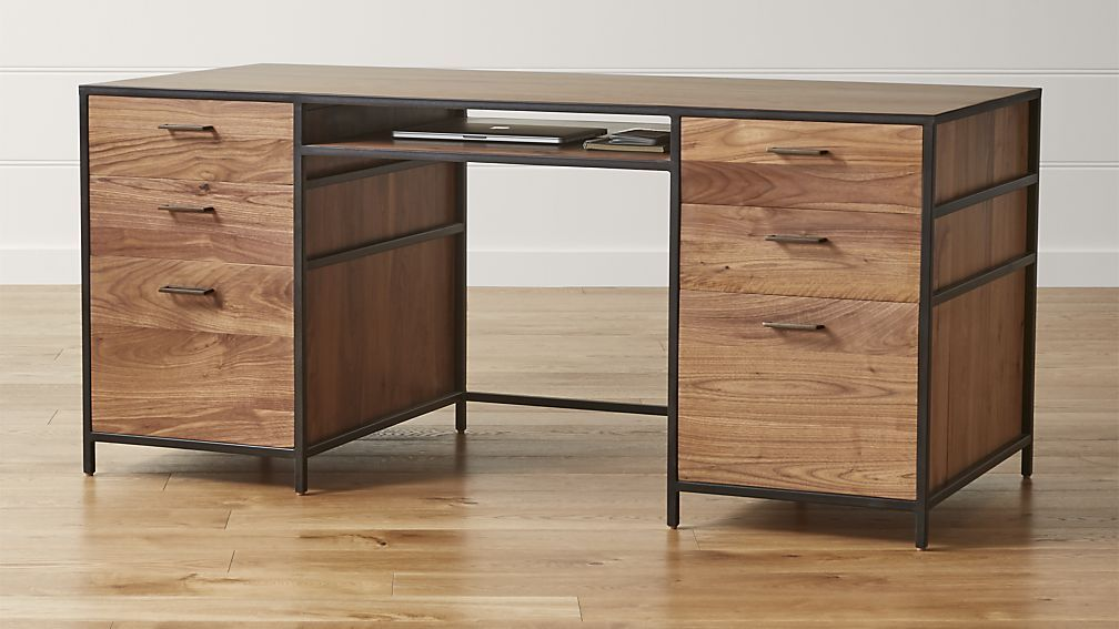 A Versatile Mix Of Open And Closed Storage The Knox Desk Sets Solid Walnut In An Architectural Iron Modern Home Office Desk Executive Desk Modern Home Offices