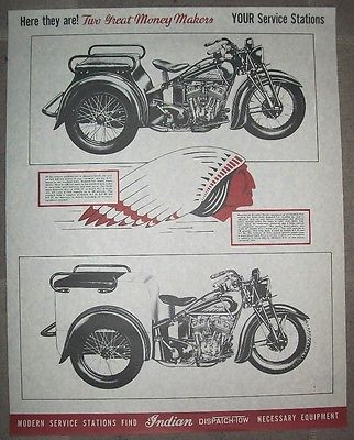 Two 2 Indian Motorcycle Posters New Old Stock Dispatch Tow Power Speed Award Indian Motorcycle Motorcycle Service Station