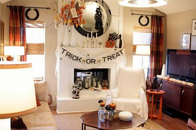 Sweet Something Designs: October 2011 - I like the line of white pumpkins on the TV stand