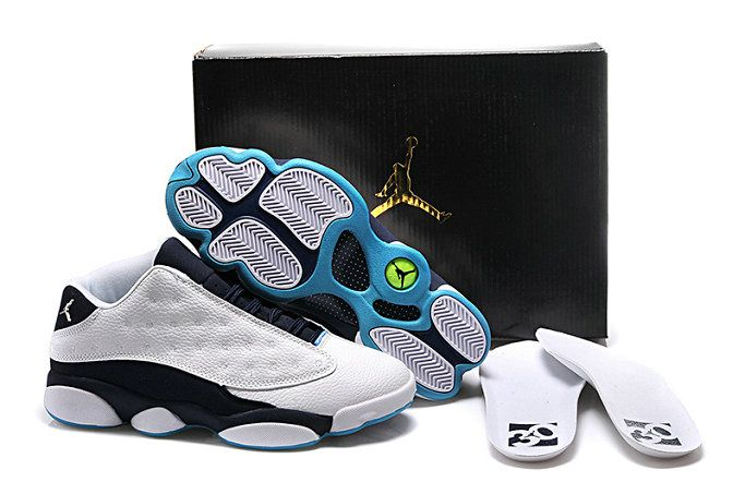 Authentic nike air jordan retro 13 clearance woshoe white grey light blue shoe for sale