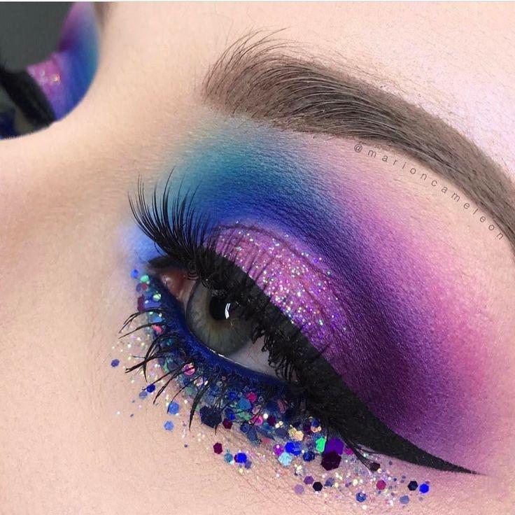 Fabuloso maquillaje de ojos morado y azul con brillo. # – Fabulosos ojos morados y azules …