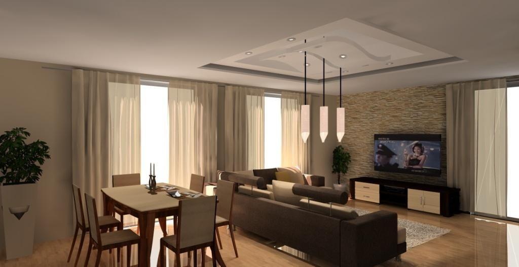 Salon Z Aneksem Kuchennym Wystroj Nowoczesny W Kolorze Braz Bez Home Home Decor Interior