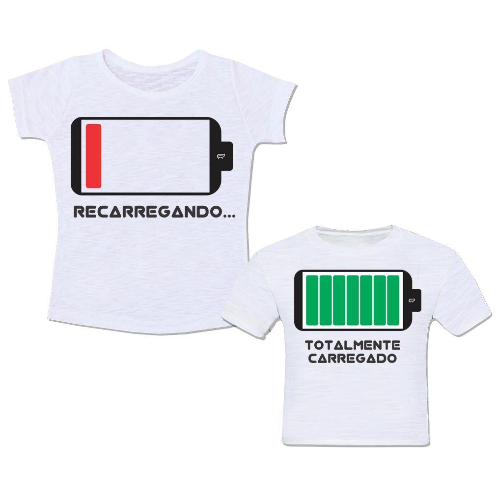 f9eb19bd89 Camiseta Mãei e Filho Filha Super Mãe Super Filho Bateria Recarregando