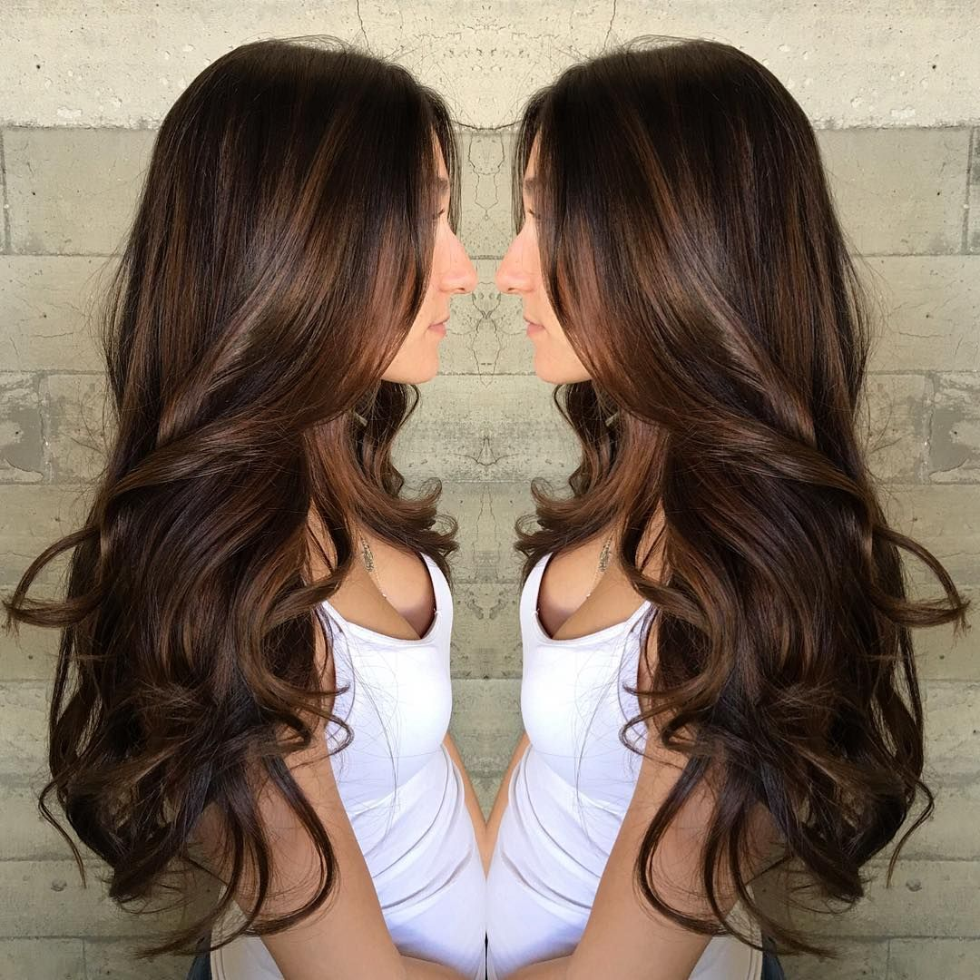 Long Curled Chocolate Brown Hair with Caramel Highlights ...