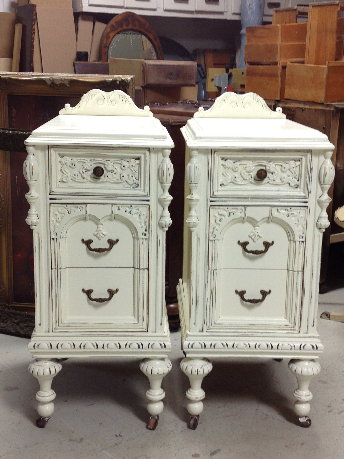 example of our custom refinished shabby chic nightstands. Black Bedroom Furniture Sets. Home Design Ideas