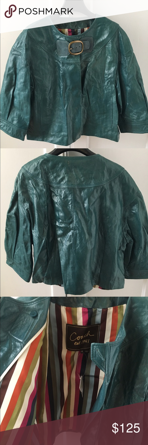 COACH teal patent leather cropped jacket NWT Crop jacket
