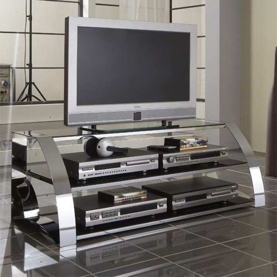 Modena Black Glass With Chrome Tvstand 97399 3 Tier Unit Has Enough