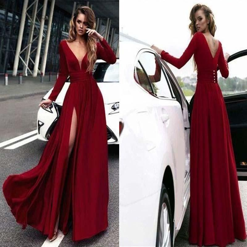41aa65213f Sexy Rose Red Deep V-Neck Covered Button Side Slit Long Prom Dress ...
