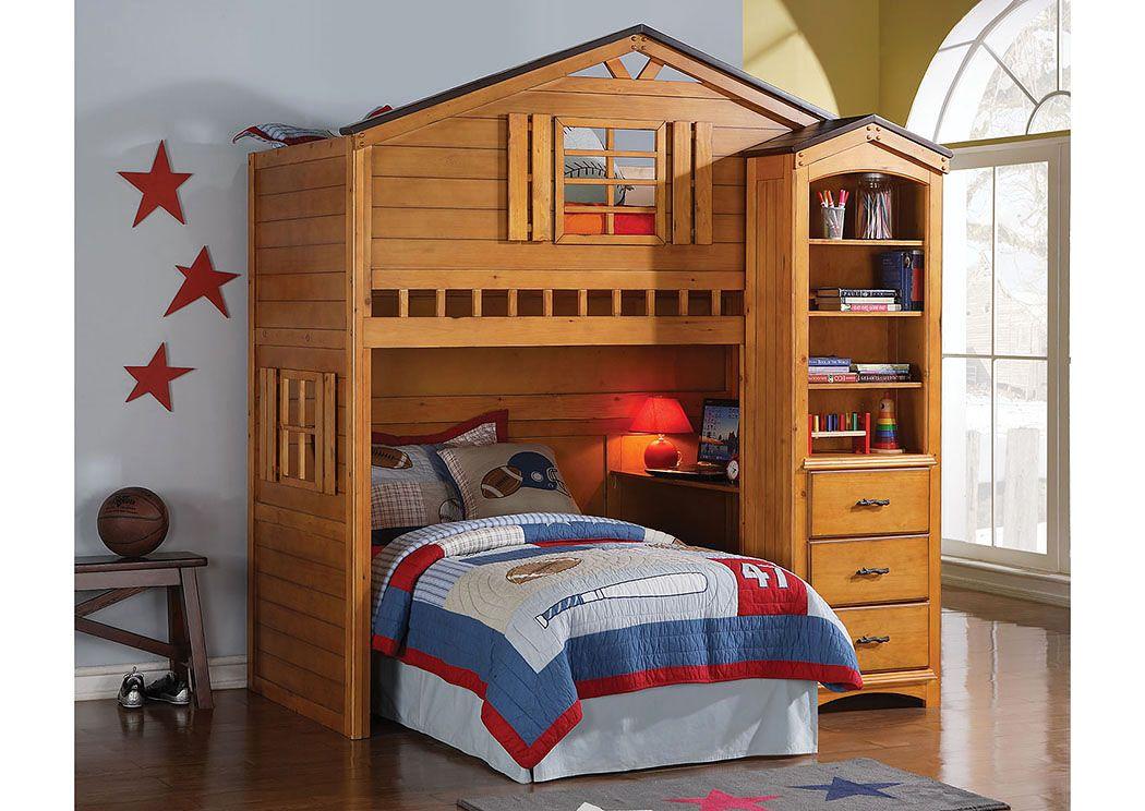 Tree House Rustic Oak Twin Loft Bed Sans Midman Furniture