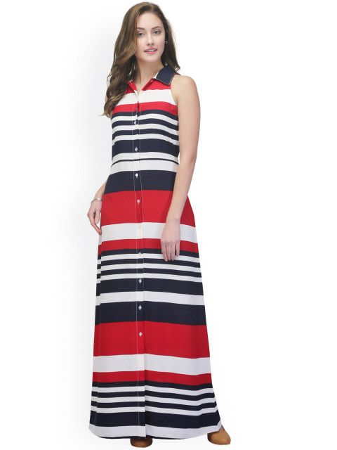 51aec63aff2 Buy StyleStone Women Red   Navy Striped Shirt Dress - Dresses for Women