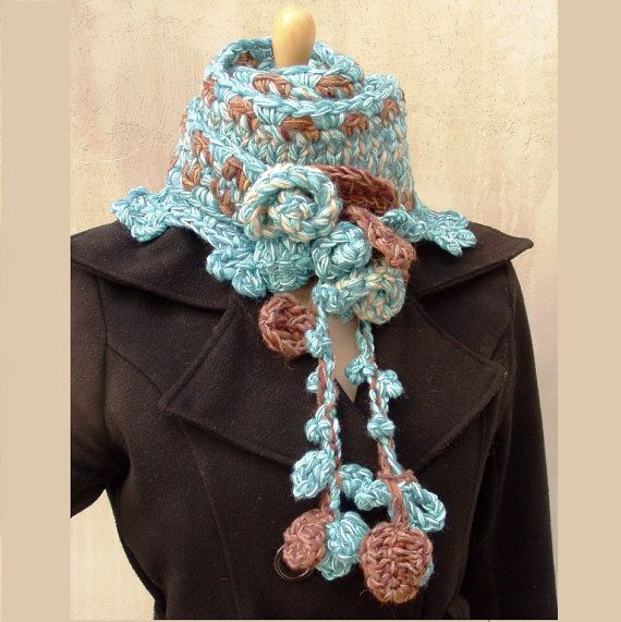 Aqua freeform hand croheted and hand knitted scarf