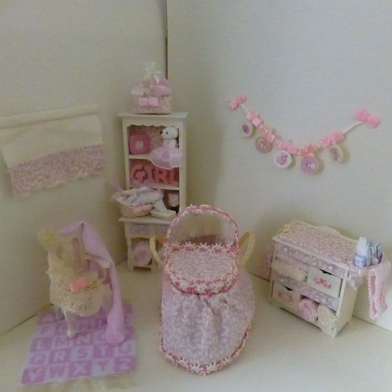 Dolls House Miniature OOAK Baby Nursery Set via Etsy
