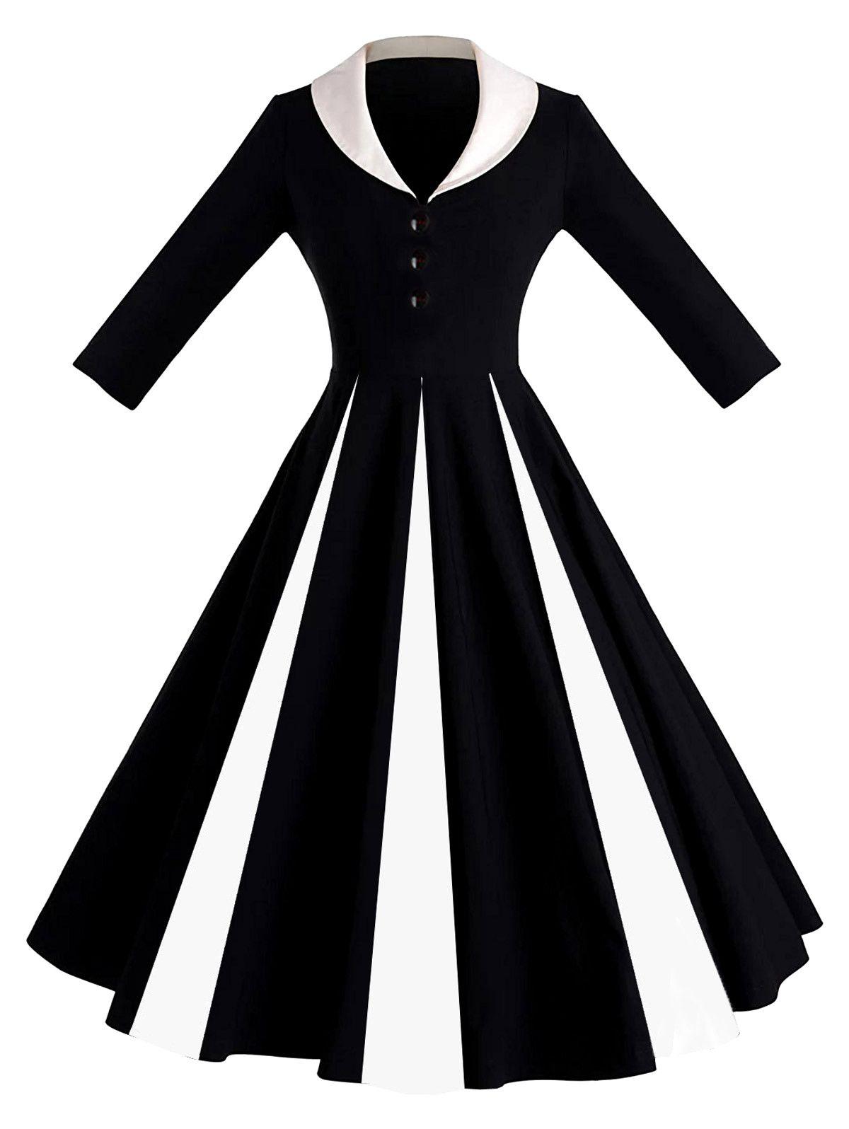 Color Block Shawl Collar Pin Up Dress - Black - 2xl