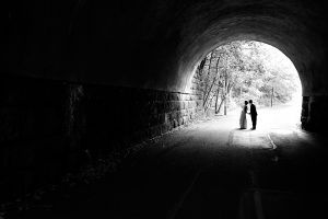 Yep, this tunnel was just asking for it. Craig's brother (and best man) was stopping cars for us on the other side.