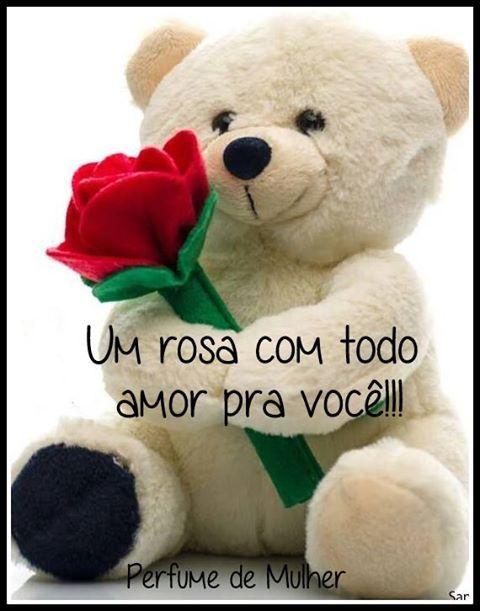 Bear holding a rose