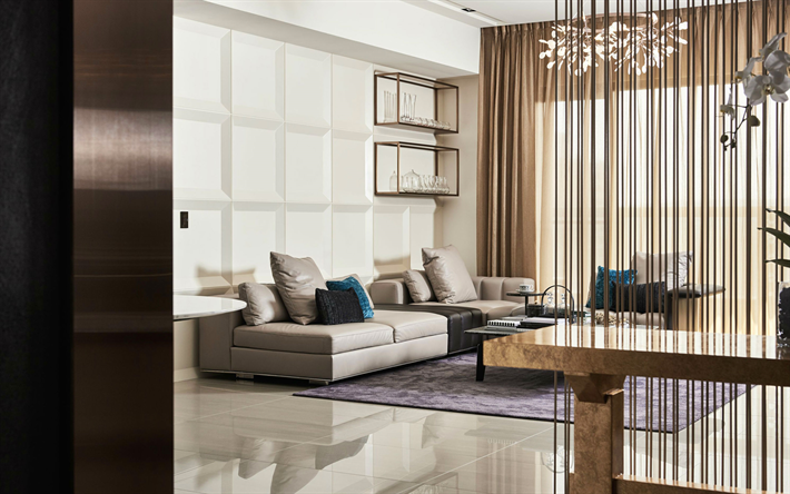 Download Wallpapers Living Room, 4k, Modern Design, Stylish Interior, Light  Room, Modern Apartment, Interior Idea