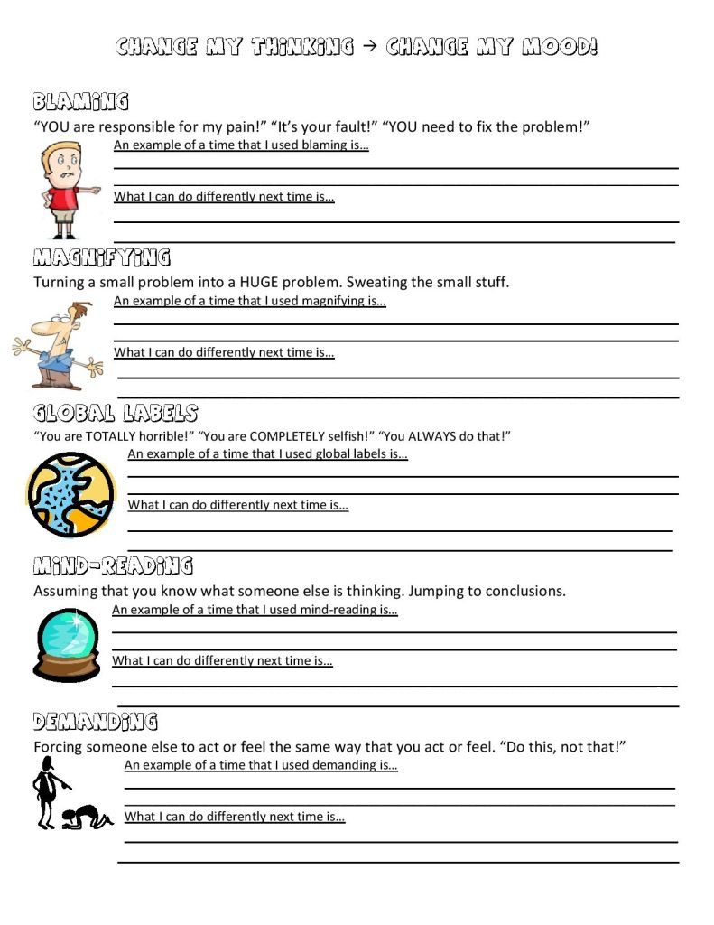 Worksheets Mood Worksheets anger management worksheet interventionstherapy tools pinterest here is another that we can do this one focuses a lot on how our thoughts work and change them you will
