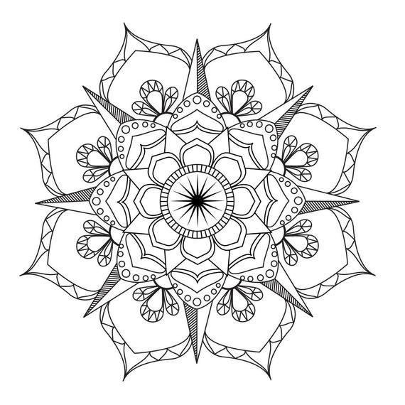 Flower Mandala-Coloring page-Adult coloring-art-therapy ...