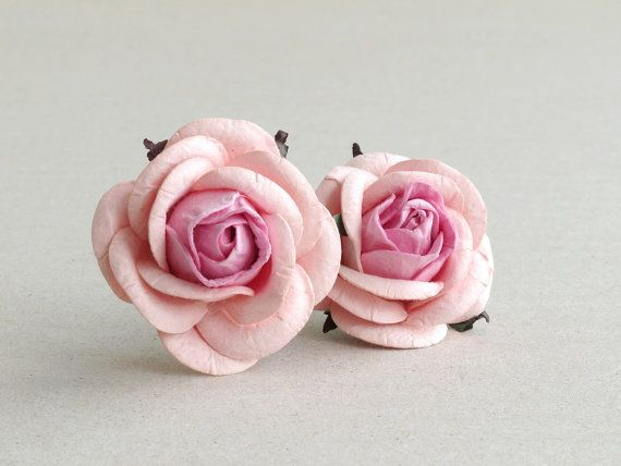 50mm Blush Pink Paper Roses 2pcs Mulberry Paper Flowers With