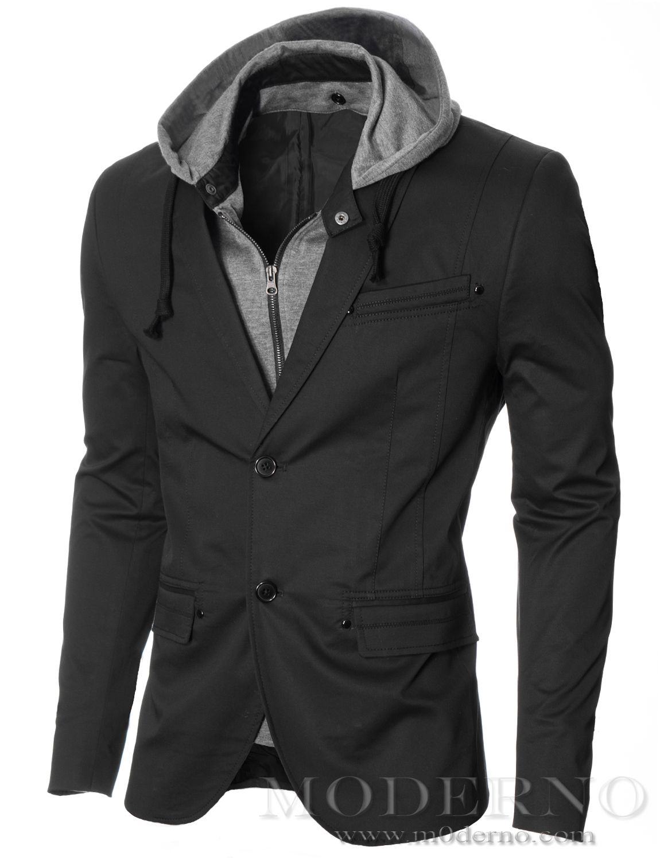 MODERNO - Men's Slim Fit Hoodie Blazer, Black
