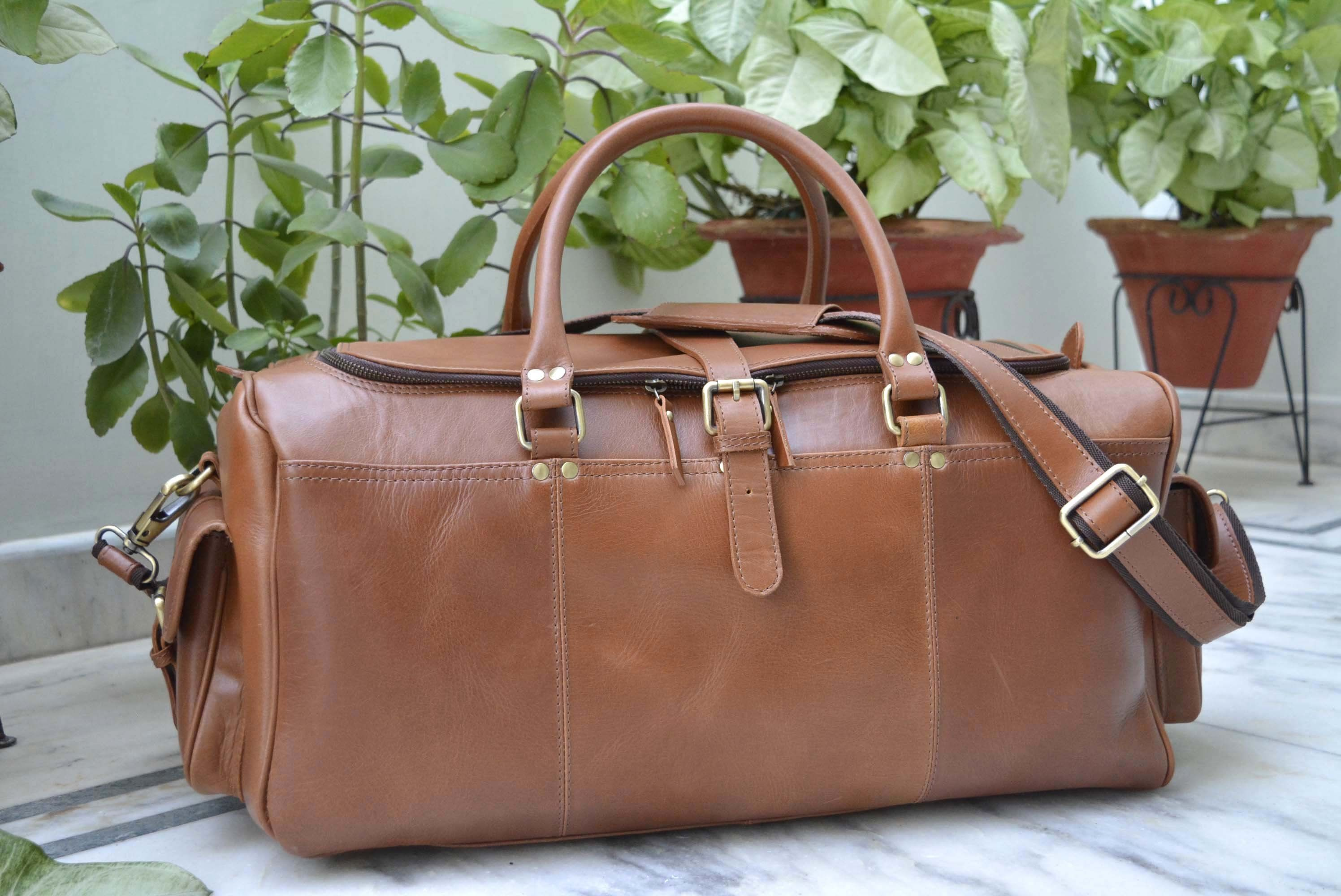 02ddc77cfc Excited to share the latest addition to my  etsy shop  Genuine TAN Leather  Weekend Bag